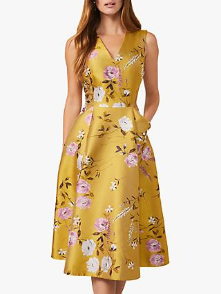 Phase Eight Cecily Floral Print Fit and Flare Dress, Citrine