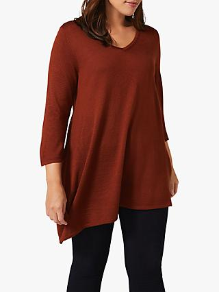 Studio 8 Camilla Asymmetric Hem V-Neck Knit Top, Tobacco