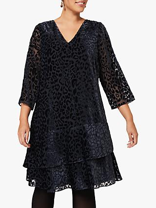 Studio 8 Elspeth Burnout Leopard Print Velvet Dress, Midnight