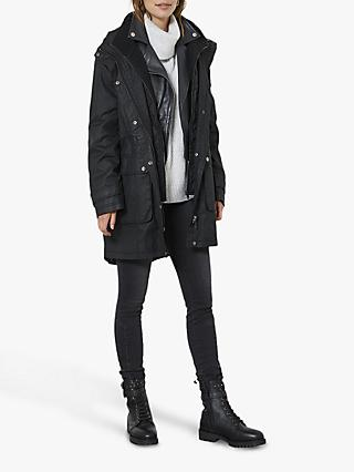 Mint Velvet Zip Parka, Black