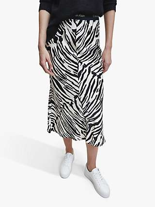 Calvin Klein Zebra Printed Elasticated Bias Skirt, Zebra/Black/White