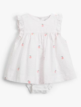 John Lewis & Partners Baby Apple Embroidered Dress and Knicker Set, Multi