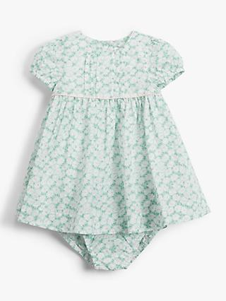John Lewis & Partners Baby Floral Dress and Knicker Set, Green