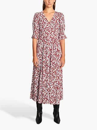 Jigsaw Shadow Ditsy Print Tea Dress, Red