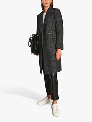 Jigsaw Clarence Wool Blend Twill Knee Length Coat, Grey