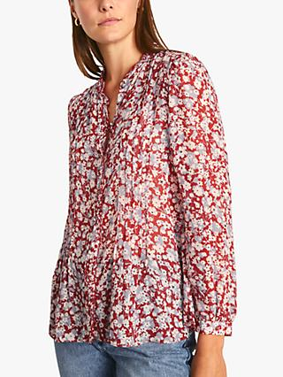 Jigsaw Shadow Ditsy Print Crinkle Blouse, Red