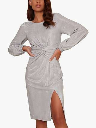 Chi Chi London Scarletta Twist Dress, Silver