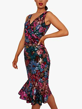 Chi Chi London Nici Floral Embellished Midi Dress, Black