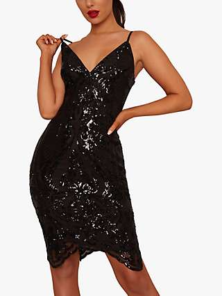 Chi Chi London Tonni Sequin Dress, Black