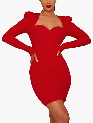 Chi Chi London Fable Sweetheart Neck Bodycon Mini Dress, Red