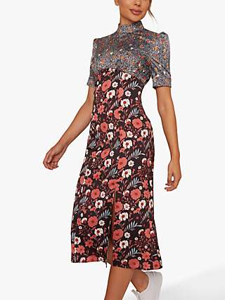 Chi Chi London Robbin Floral Midi Dress, Black