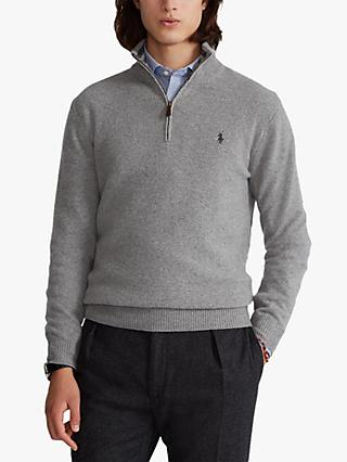 Polo Golf Ralph Lauren Wool Cashmere Half Zip Sweater, Grey