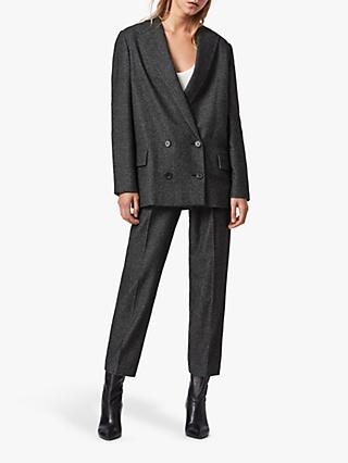 AllSaints Helei Double Breasted Puppytooth Check Blazer, Black