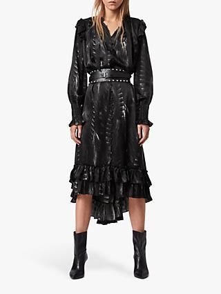 AllSaints Lara Viola Ruffle Dress, Black