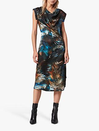AllSaints Concerto Abstract Print Dress, Blue/Multi