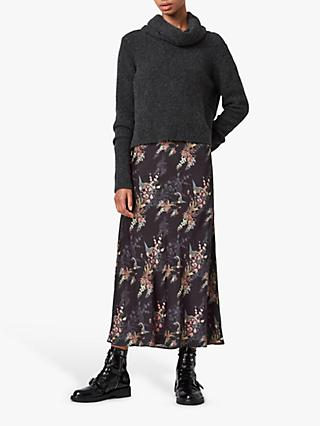 AllSaints Tierny Melisma Floral Print Roll Neck 2-in-1 Jumper Dress, Charcoal