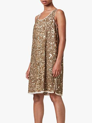 AllSaints Brellie Embellished Mini Dress, Gold