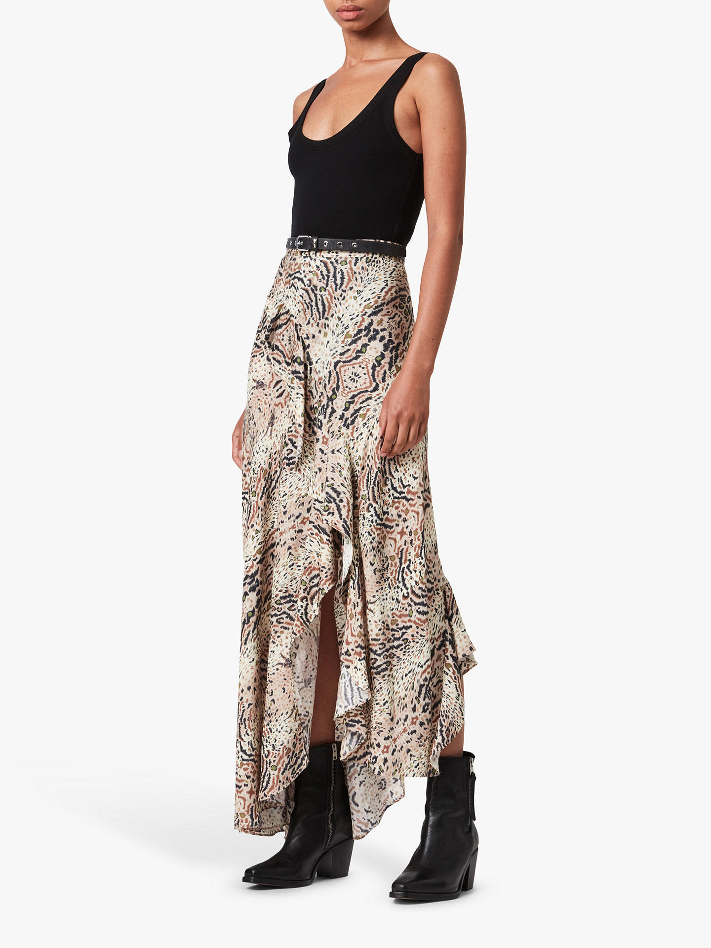 Buy AllSaints Arietta Abstract Print Maxi Skirt, Ecru White, 6 Online at johnlewis.com
