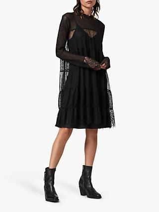AllSaints Briella Tiered Lace Mini Dress