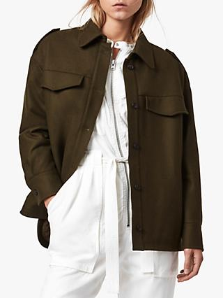 AllSaints Emery Wool Blend Quilt Jacket, Army Green