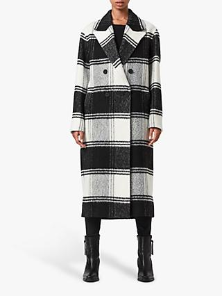 AllSaints Lottie Check Longline Coat, Black/White