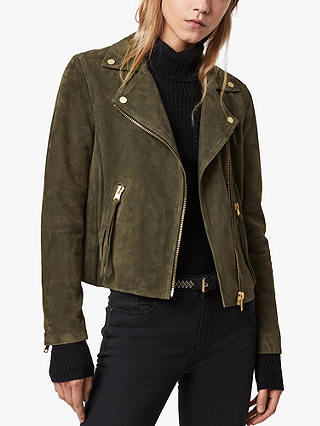 Buy AllSaints Dalby Suede Biker Jacket, Emerald Green, 6 Online at johnlewis.com