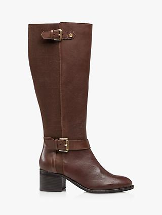 Dune Tildas Leather Buckle Strap Detail High Leg Boots, Brown