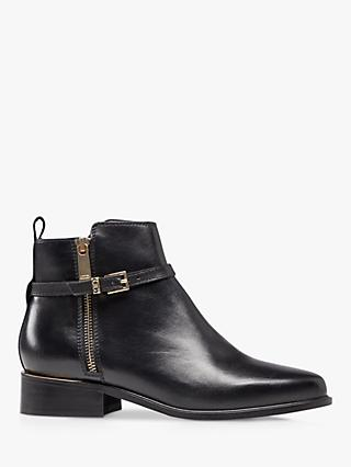 Dune Pop Leather Buckle Trim Ankle Boots