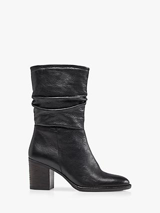 Dune Rosa Leather Slouch Heeled Calf Boots, Black