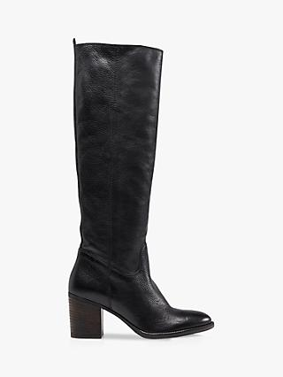 Dune Troop Leather Mid Block Heel Knee High Boots, Black