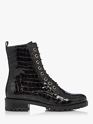 Dune Prestone Cleated Sole Leather Lace-Up Hiker Boots, Black Croc