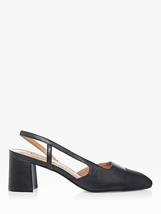 Dune Crofts Leather Block Heel Slingback Shoes, Black