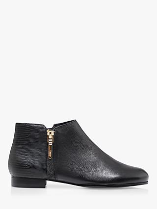 Dune Pandia Leather Side Zip Cropped Ankle Boots, Black