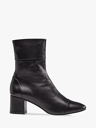 Dune Onyx Leather Ankle Boots