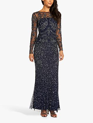 Adrianna Papell Jersey Floral Embellished Maxi Gown, Midnight