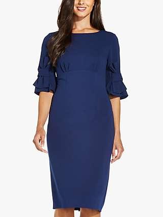 Adrianna Papell Sheath Knee Length Dress, Deep Ocean