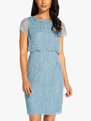 Adrianna Papell Beaded Floral Mini Dress, Air Sky