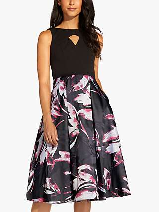 Adrianna Papell Jacquard Floral Knee Length Dress, Magenta/Multi