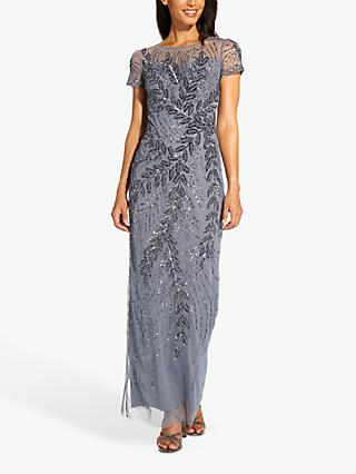 Adrianna Papell Short Sleeve Floral Embellished Maxi Gown, Dusty Blue