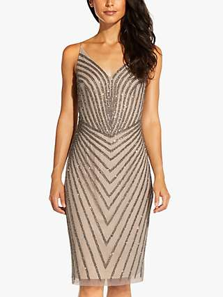 Adrianna Papell Cocktail Embellished Knee Length Dress, Deep Platinum