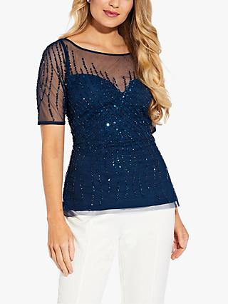Adrianna Papell Beaded Top, Deep Blue