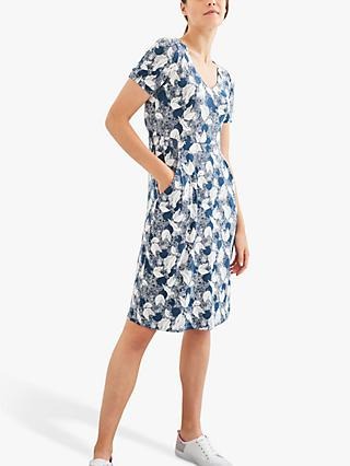 White Stuff Rosemary Printed Jersey Dress, Teal/Multi
