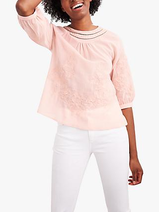 White Stuff Emi Embroidered Top, Dusty Pink