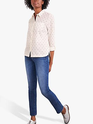 White Stuff Cecily Embroidered Spot Cotton Shirt, White/Blue