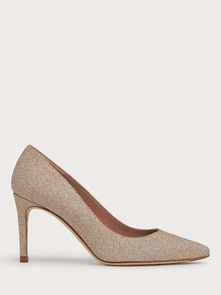 L.K.Bennett Floret Glitter Stiletto Heel Court Shoes, Gold