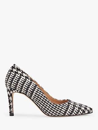 L.K.Bennett Floret Stiletto Heel Court Shoes, Black/White