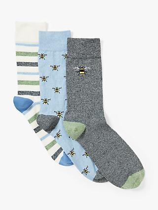 John Lewis & Partners Organic Cotton Rich Bee Socks, Pack of 3, White/Blue/Grey