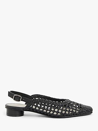 John Lewis & Partners Crochet Leather Slingback Pumps