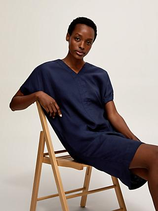 John Lewis & Partners Linen Tunic Dress, Navy