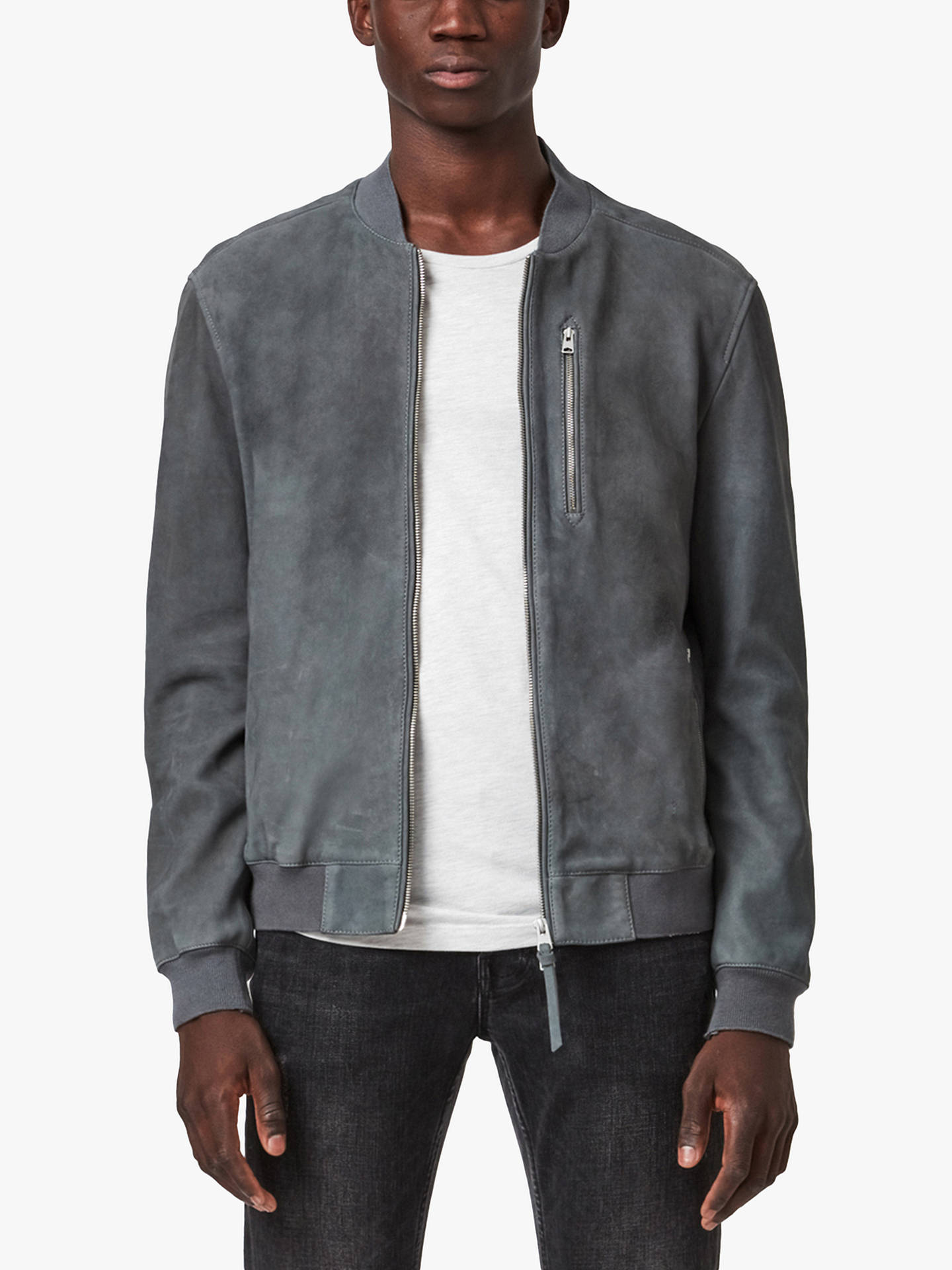 Buy AllSaints Stones Suede Bomber Jacket, Shadow Blue, S Online at johnlewis.com